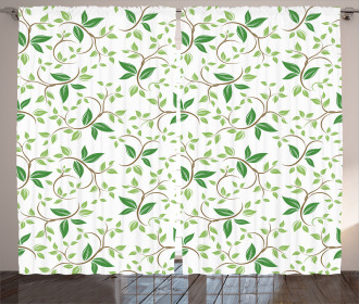 Fancy Ivy Green Leaves Curtain
