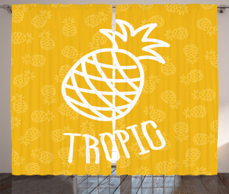 Exotic Pineapple Summer Curtain