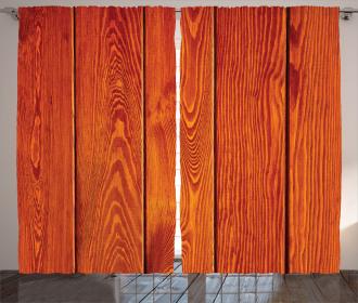 Wood Timber Floor Orange Curtain