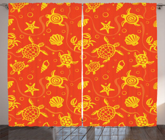 Yellow Turtles Crabs Curtain
