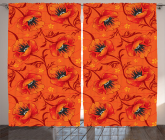 Poppy Flower Romance Curtain