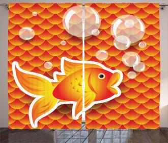 Cartoon Goldfish Bubble Curtain