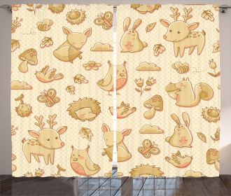 Forest Animals Polka Dots Curtain