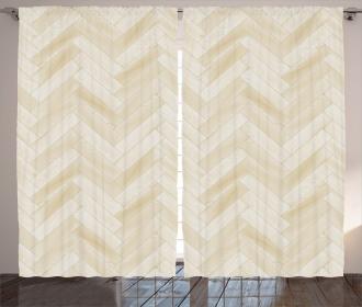 Chevron Oak Parquet Art Curtain