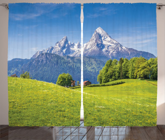 Alps with Meadow Flora Curtain