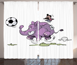 Elephant Playing Soccer Curtain