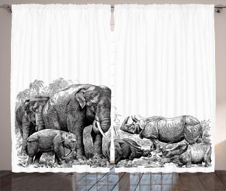 Ancient Elephants Curtain