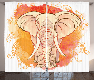 Eastern Elephant Pattern Curtain