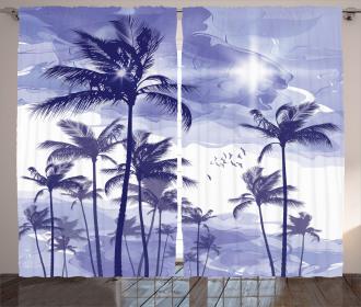 Tropic Palm Tree Sunny Day Curtain