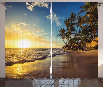 Exotic Beach Sunset Curtain
