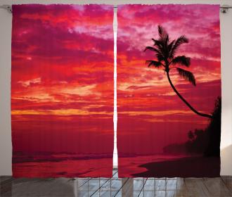 Tropical Island Beach Palms Curtain