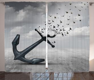 Flying Seagulls Grey Curtain