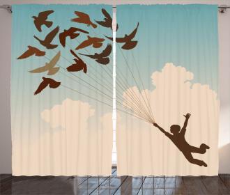 Flying Pigeons Birds Curtain