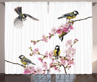 Flowers Hummingbirds Curtain