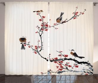 Oriental Artful Illustration Curtain