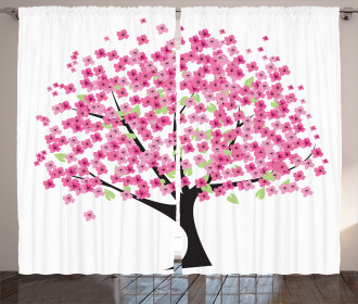 Cherry Blossom Floral Curtain
