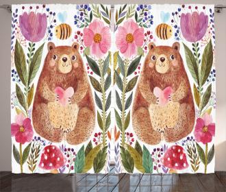Bear with Flowers Curtain