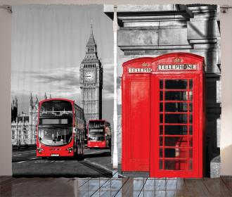 London Retro Phone Booth Curtain