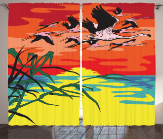 Birds in the Air Art Curtain