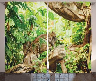 Tropic Wild Jungle Leaf Curtain