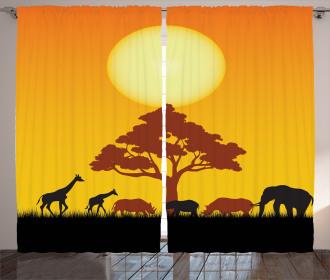 Wildlife Animals Rhinos Curtain