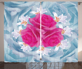 Graphic Roses and Lilies Curtain