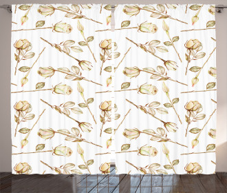 Sepia Roses with Leaves Curtain