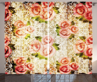 Psychedelic Floral Motif Curtain