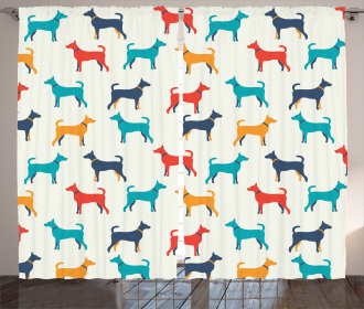 Retro Dog Figures Curtain
