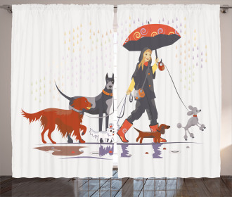 Girl with Dogs in Rain Curtain