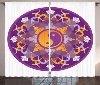 Yin Yang Mandala Symbol Art Curtain