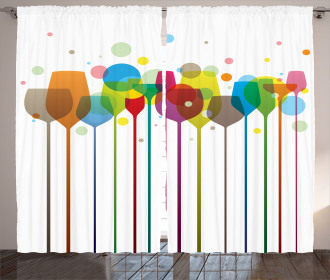 Wine Colorful Glasses Curtain