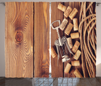 Wooden Table Wine Corks Curtain
