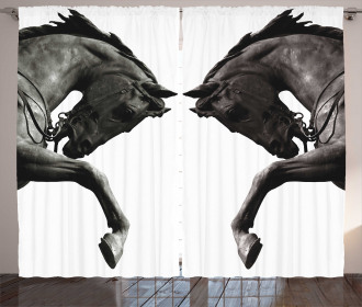 Abstract Horse Statue Curtain