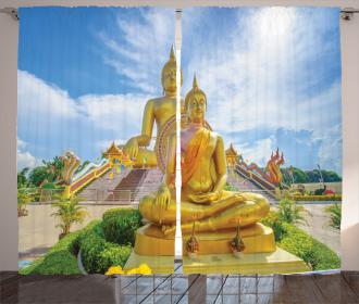 Mediate Statue Temple Curtain