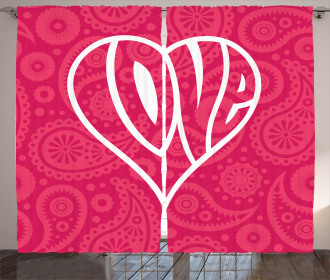 Retro Ethnic Big Heart Curtain