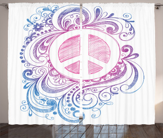 Peace Sign and Swirls Curtain