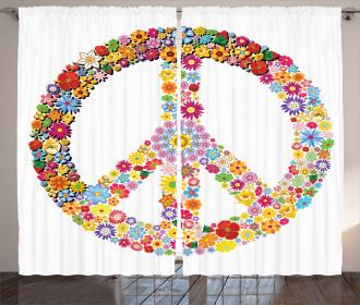Floral Peace Symbol Curtain