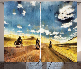 Motorcycles Countryside Curtain
