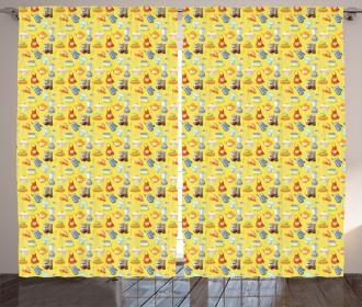 Yellow Kitchenware Curtain
