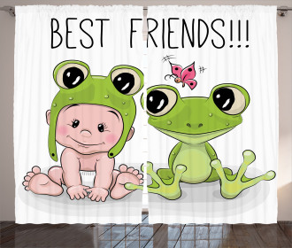 Baby Frog Love Friends Curtain