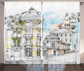European City Sketch Curtain