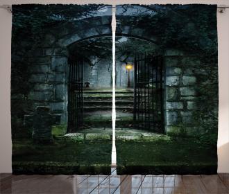 Dark Haunted Castle Curtain
