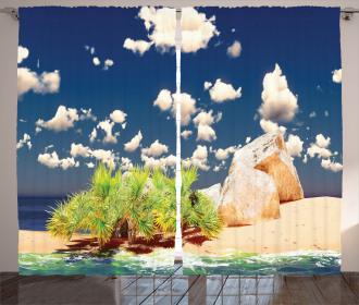 Sandy Beach Seychelles Curtain