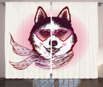 Hipster Husky Dog Hearts Curtain