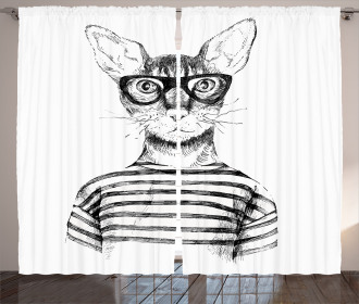 Hipster New Age Cat Curtain