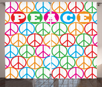 Peace Symbol Letters Curtain