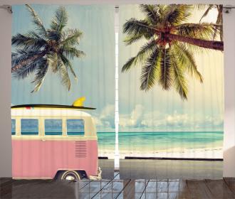 Retro Minivan on Beach Curtain