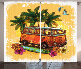 Hippie Old Exotic Bus Curtain