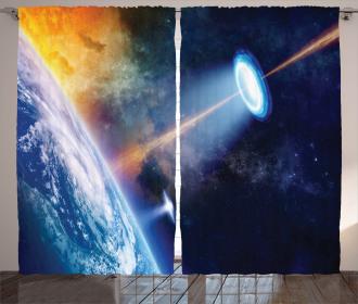 UFO on Earth Sci-Fi Curtain